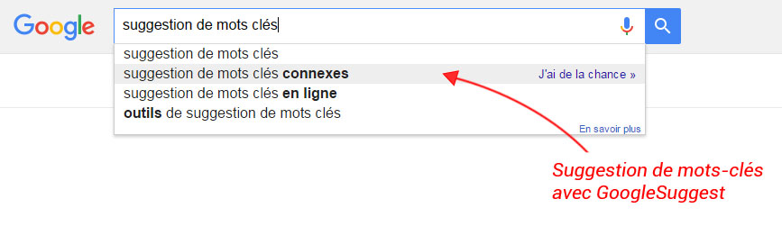 Google suggest et la suggestion de mots-clés