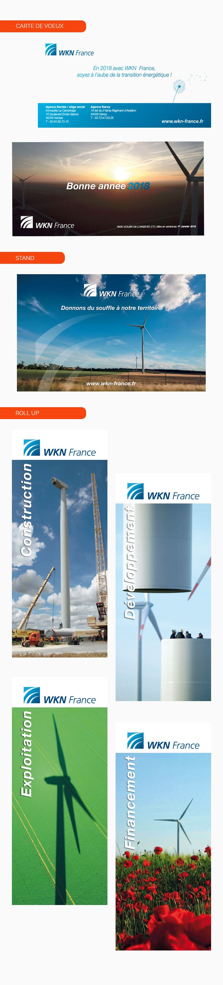 carte de voeux, roll up et stands créés pour WKN France