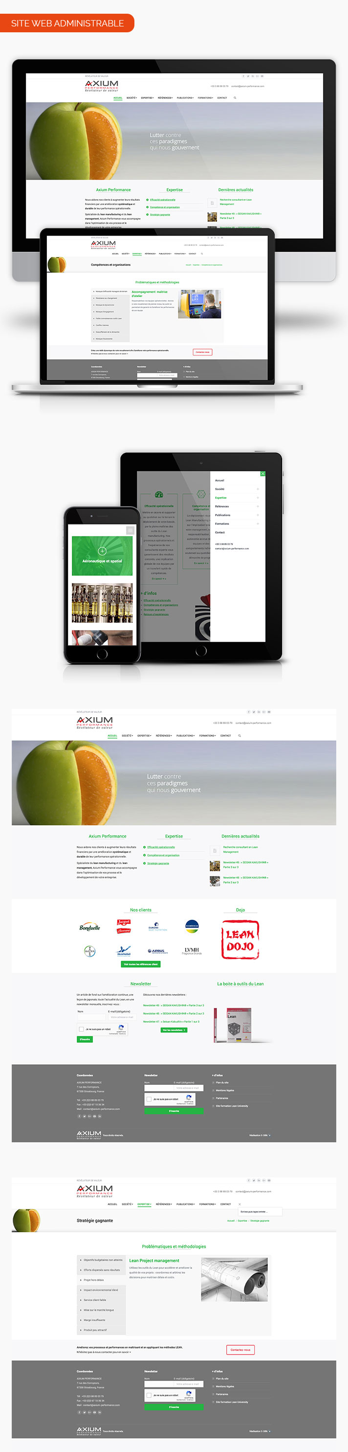 Mockup pages site internet Axium performance