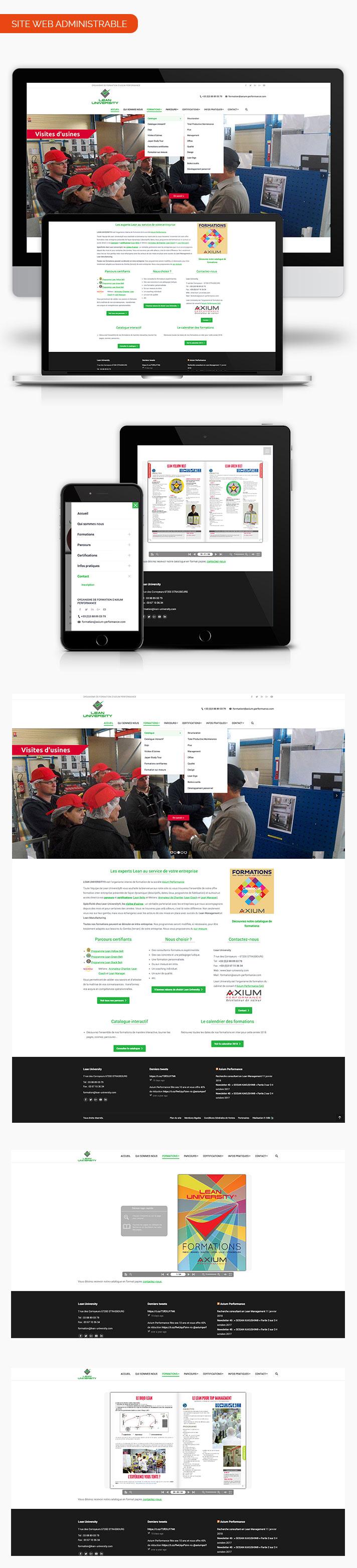 Mockup page site internet Lean university