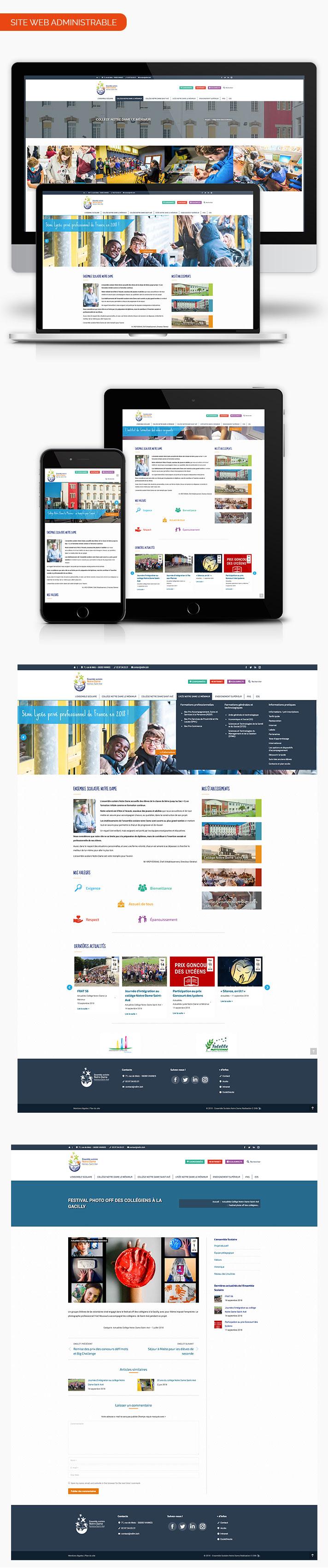 Mockup site internet Ensemble Scolaire notre Dame