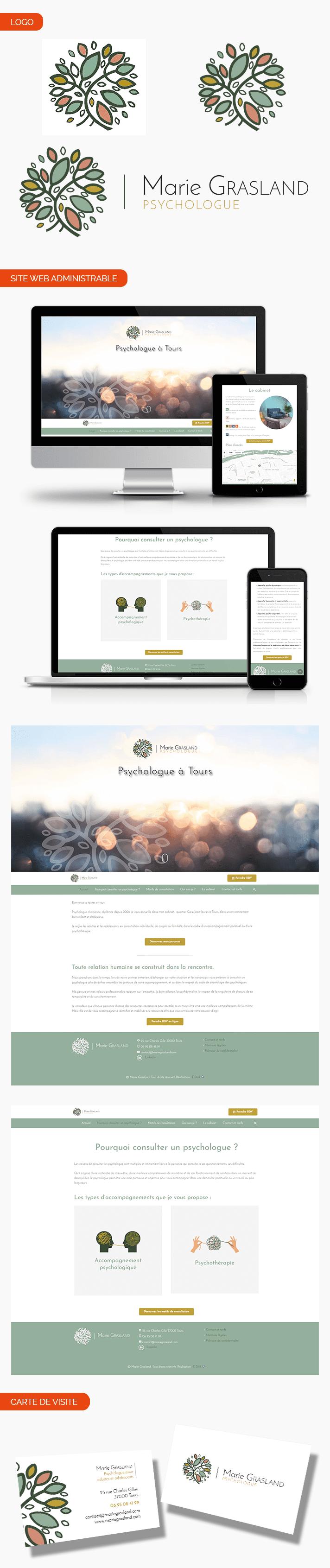 Aperçu site internet, vectorisation de logo et carte de visite pour Marie Grasland.